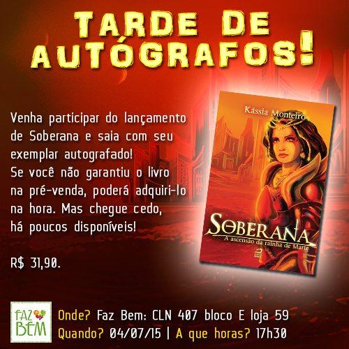 """Tarde de autógrafos de """"Soberana – a ascensão da rainha de Marte"""", de Kássia Monteiro"""